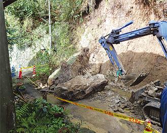 4月に桜山で発生した土砂崩れの様子(市提供)
