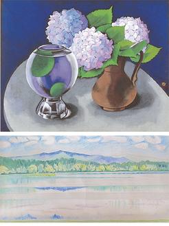 山口蓬春《まり藻と花》昭和30年(1955)【写真上】、山口蓬春《山湖 小下絵》昭和22年(1947)