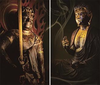 一般公開される薬師如来像(右・最宝寺)と不動明王像(浄楽寺)