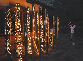 幻想的な竹あかりが展示されるしおさい公園(写真は昨年)