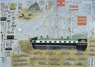 浦賀にやってきたアメリカ船のスケッチ1845(弘化2)年[同館蔵](萩原家文書)