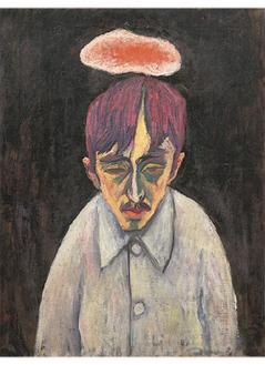 《雲のある自画像》1912─13年頃 油彩、画布、岩手県立美術館蔵