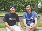 元読売巨人軍投手の宮本和知さん(右)と=南郷上ノ山公園