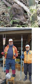 罠にかかったイノシシ(提供:同会三井さん)、止め刺し機を持つ石井さん(写真下、左)と役員の三堀修一さん