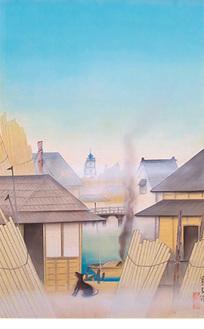 山口蓬春《木場》 大正4年(1925)  山口蓬春記念館蔵