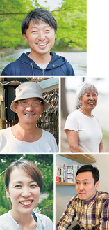 (上から時計回りに)東信史さん、川崎直美さん、福田和則さん、清水明絵さん、朝山正和さん