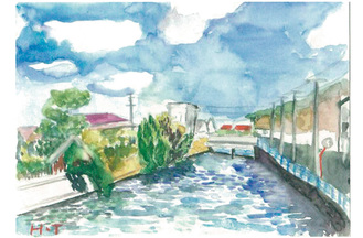 「秋晴れの日田越橋から振り返る」寺島弘子(鉛筆画サークル)