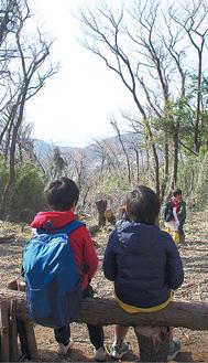 富士山を望む阿部倉山の山頂付近(今年2月撮影)