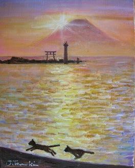 「裕次郎灯台」油彩画・寺崎城介