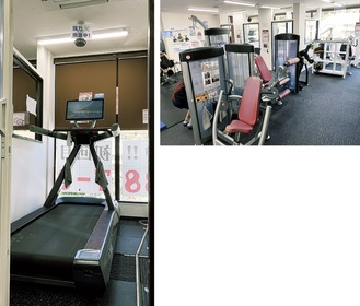 明るく広々とした室内(上)マスクなしで走れる完全個室のランニングマシン(左)は全国的にも珍しい