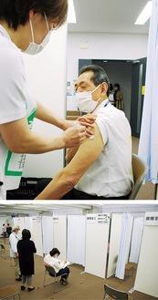 リハーサルに参加した桐ケ谷市長(注射器はダミー)、接種ブースは5つ
