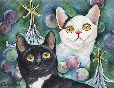 """""""ほのぼの""""猫のクリスマス"""