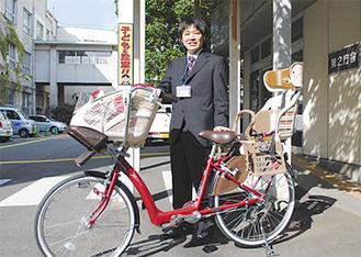 市役所で展示されている適合自転車