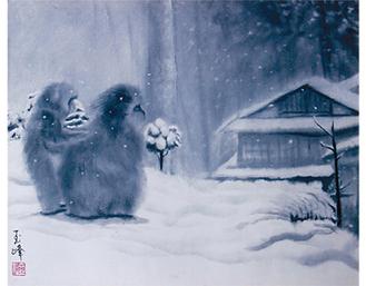 山崎玉峰作「下北の冬」