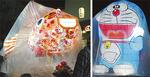 藤沢養護学校の生徒らが作った金魚(左)や初登場のドラえもん