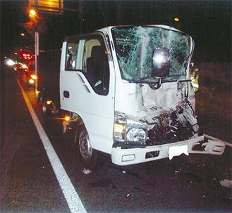 4月15日に市内城南で発生した大型車の事故現場(参考写真 提供=藤沢警察署)