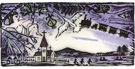 童話の世界の木版画展