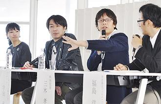 (左から)山田編集長、宇田プロデューサー、三木監督、FC福島さん
