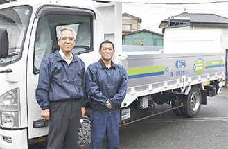 同社社員と新型車両