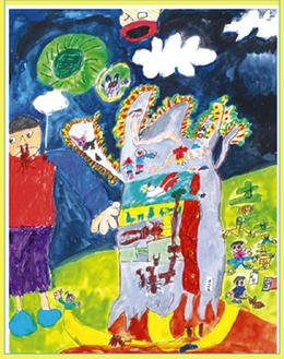 三國慧大さん(藤沢市)の作品「お化け屋敷(Haunted House)」(日本ユネスコ協会連盟会長賞)