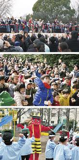 上から遊行寺、白旗神社、藤沢若葉幼稚園の豆まきの様子