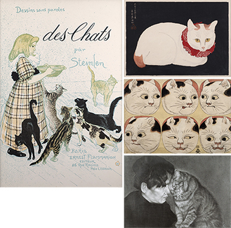 (写真上から時計回りに)「テオフィル・アレクサンドル・スタンラン《猫の少女》1898年」「高橋弘明《ジャパニーズ・ボブテイル》1924年」「歌川国芳(伝)《猫の百面相》制作年不詳」「木下晋《甘え》2007年」