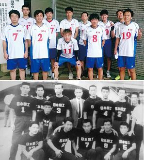 上・今年、全国出場を果たしたチームメンバー、下・初出場の時のチームメンバー