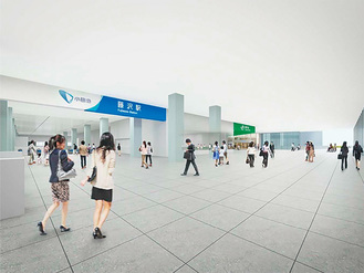 藤沢駅南北自由通路の完成イメージ(藤沢市提供)