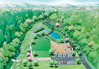 遠藤笹窪緑地に整備予定の公園イメージ図(藤沢市提供)