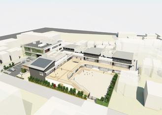 複合施設の完成予想図(=市提供)。保育園や医療機関、福祉施設などが入居を予定している