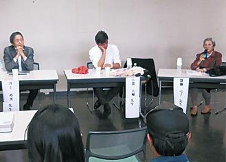 登壇する齋藤さん(左から3番目)