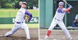 4番のカレオン選手(右)と6回2失点の好投を見せた前田投手(神奈川フューチャードリームス提供)
