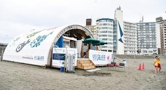 片瀬東浜に建築された「釘のない海の家」