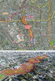 下土棚遊水地の位置と俯かん写真(県藤沢土木事務所提供)