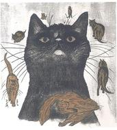 愛らしい猫、木版画で