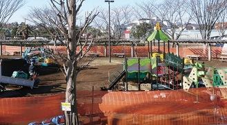 工事が進む秋葉台公園(=2月17日撮影)