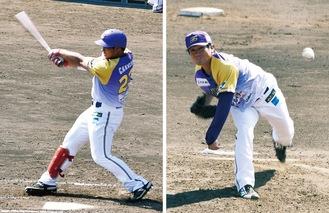 4打点の活躍をした4番カレオン選手(左)6回1失点の好投を見せた先発の乾真大投手