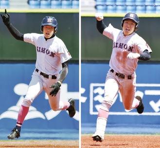 準決勝の東海大相模戦で本塁打を放ちガッツポーズする3番提坂朋和選手(右)と4番柳澤大空選手。今大会2人とも打撃でチームを牽引した