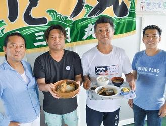 メニューを紹介する(左から)北村さん、宍戸さん、高橋さん、栗原さん
