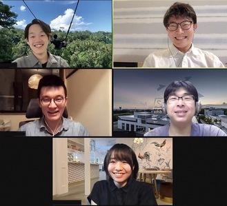 ウェブ会議の様子。(右上から時計回りに)中井才響さん、市川裕也さん、成田さん、松浦さん、水上翔太さん(同会提供)