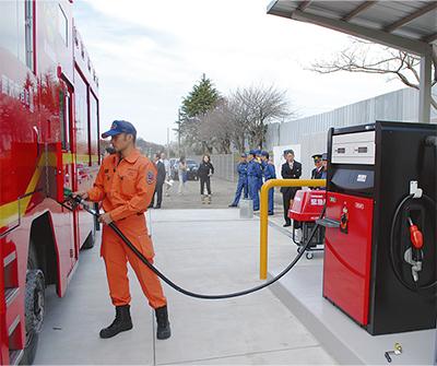 緊急車用の給油所が完成