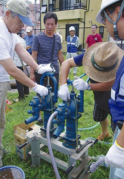 100t水槽の操作法指導