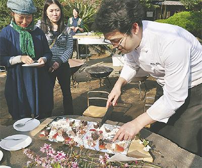 草花と食のアート味わう
