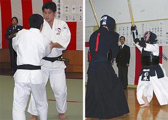 大船署では井上康生さんが、鎌倉署では鎌倉女学院の生徒が模範稽古を行った