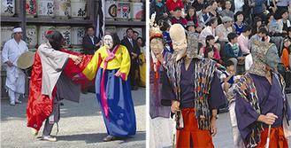 安東の国際仮面舞フェスに参加した「面掛行列」(右)と鎌倉まつりに参加した「河回伝統仮面劇」