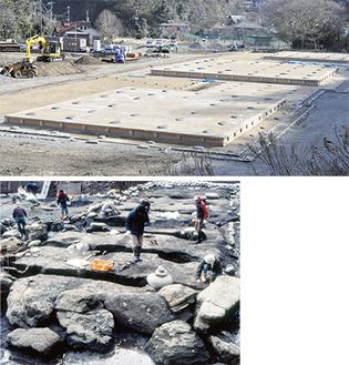 〔上〕「基壇」に続き池の復元を行う〔下〕発掘調査の様子