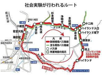 鎌倉駅から逗子市のハイランドまでは既存のバス停に停車、その後大町を経て「ノンストップ運行」することで時間短縮を目指す