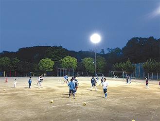 関谷小学校グラウンドでの練習の様子