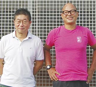 店長の渡辺さん(左)とかん太村の村長吉田さん