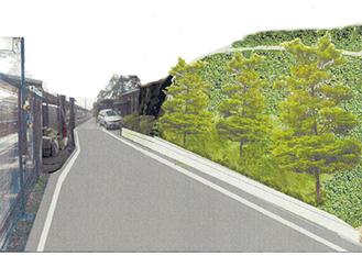 市が提示した開削イメージの一つ。擁壁に植栽し斜面上部を山側に下げる